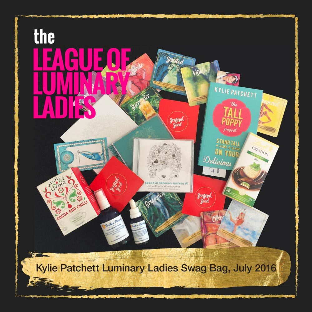 Kylie Patchett featured Sensual Seed Oracle Cards in The League of Luminary Ladies podcast Swag Bag Giveaway